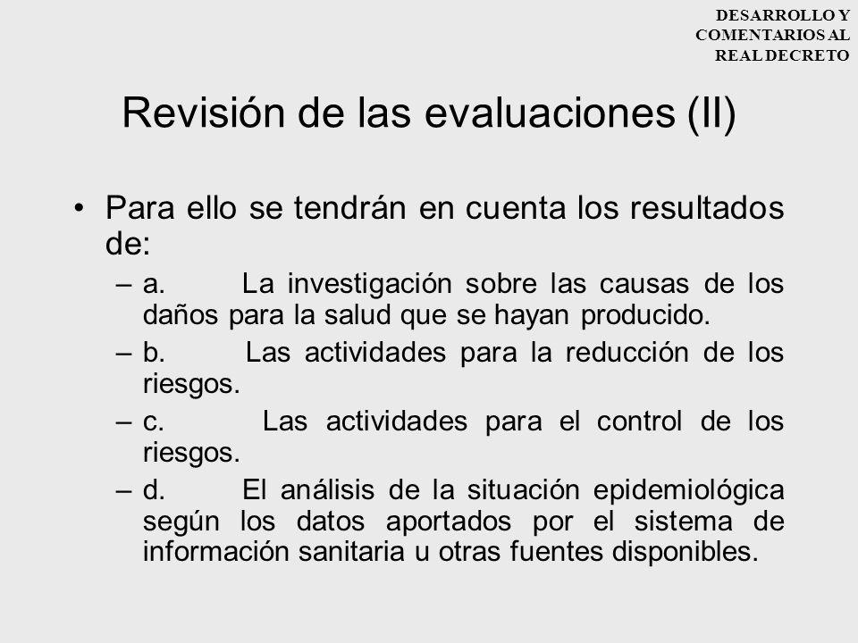 Revisión de las evaluaciones (II)