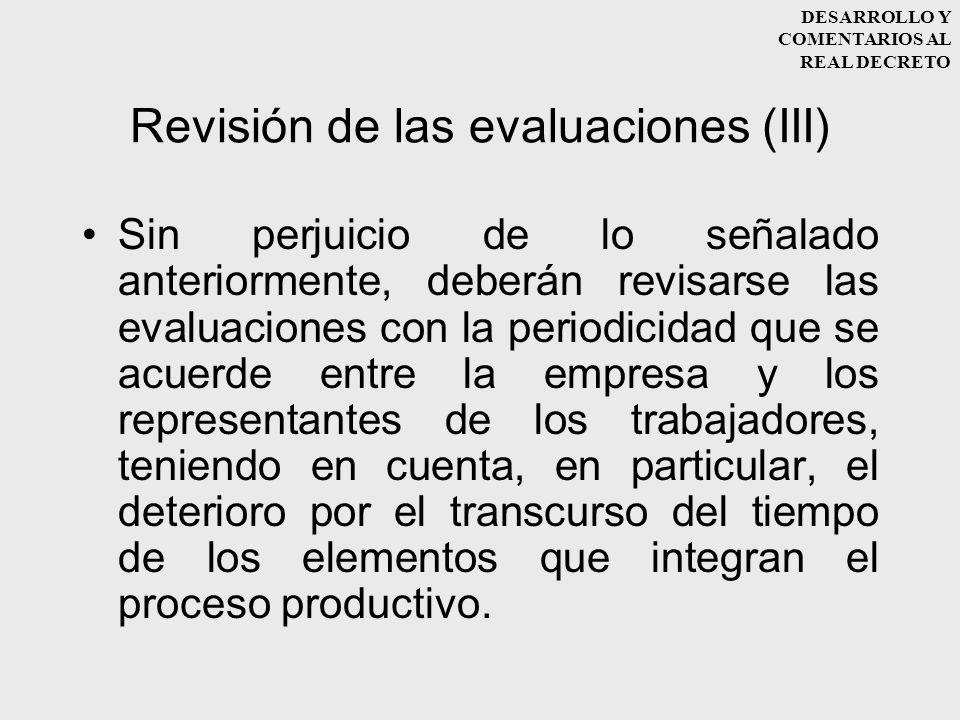Revisión de las evaluaciones (III)