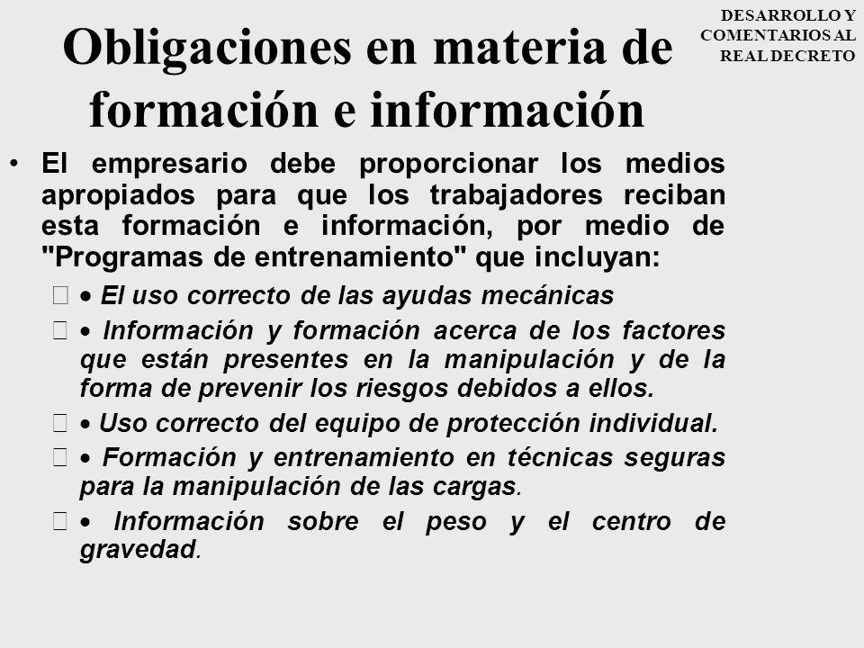 Obligaciones en materia de formación e información