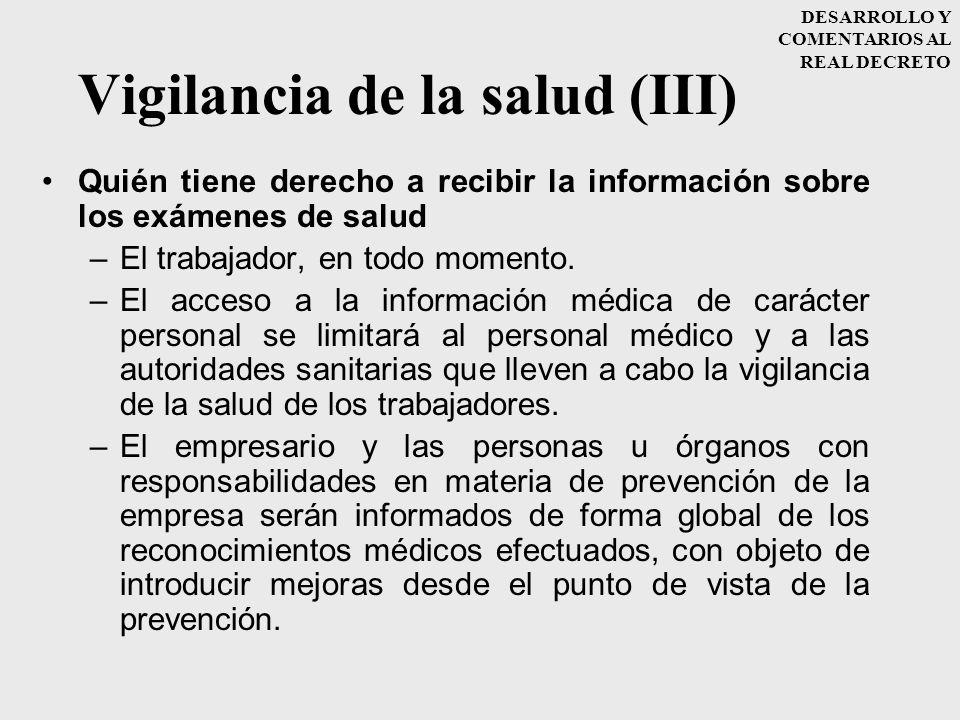 Vigilancia de la salud (III)