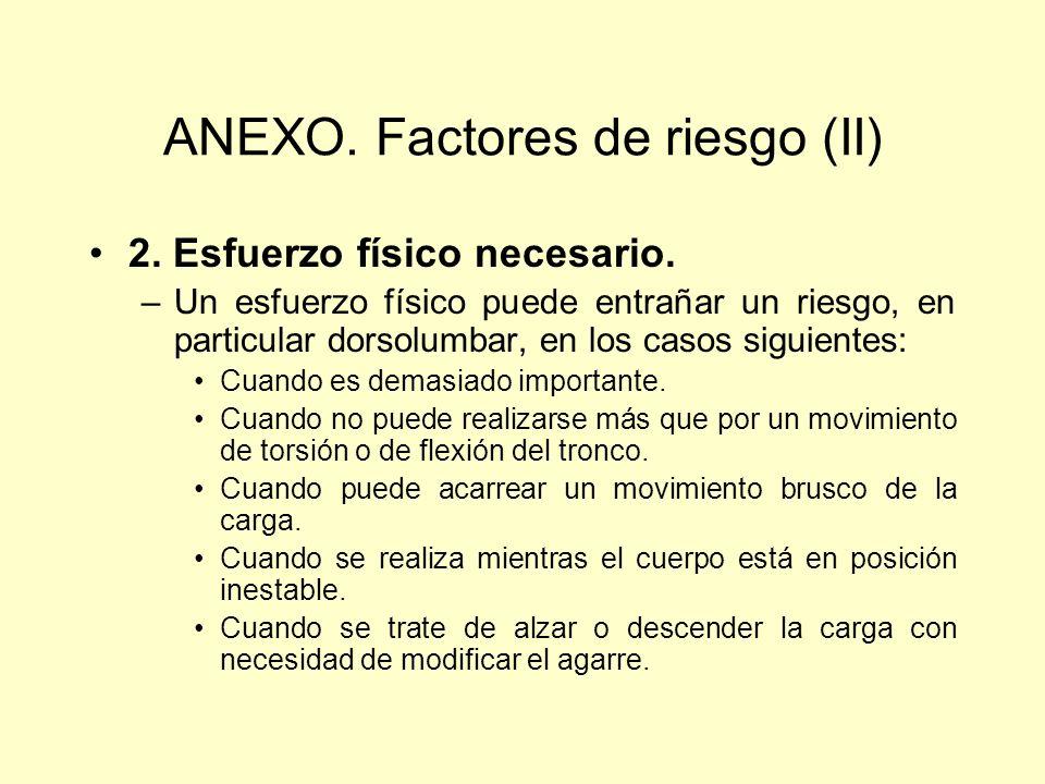 ANEXO. Factores de riesgo (II)