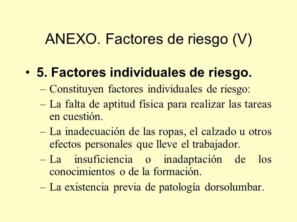 ANEXO. Factores de riesgo (V)
