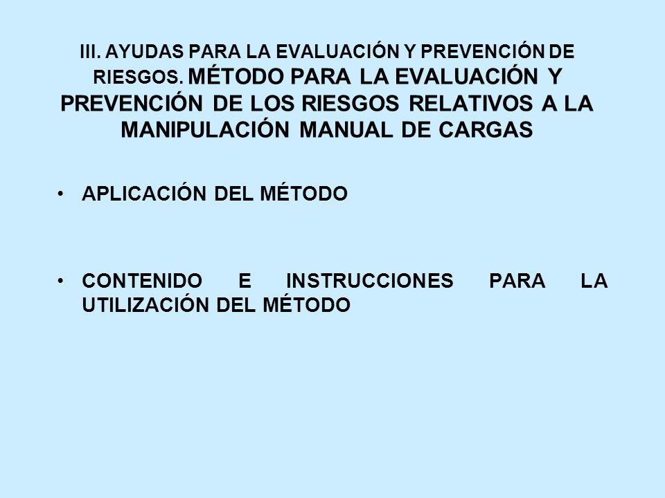 CONTENIDO E INSTRUCCIONES PARA LA UTILIZACIÓN DEL MÉTODO