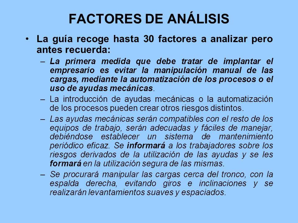 FACTORES DE ANÁLISIS La guía recoge hasta 30 factores a analizar pero antes recuerda:
