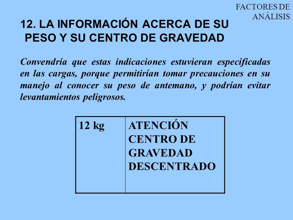 12. LA INFORMACIÓN ACERCA DE SU PESO Y SU CENTRO DE GRAVEDAD