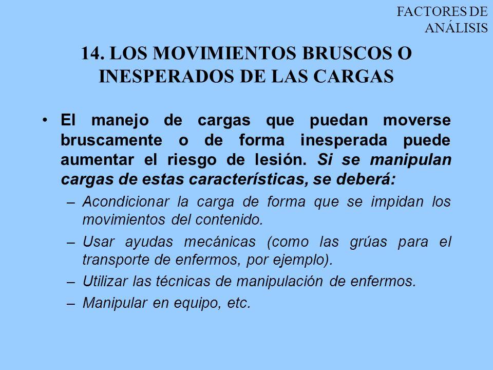 14. LOS MOVIMIENTOS BRUSCOS O INESPERADOS DE LAS CARGAS