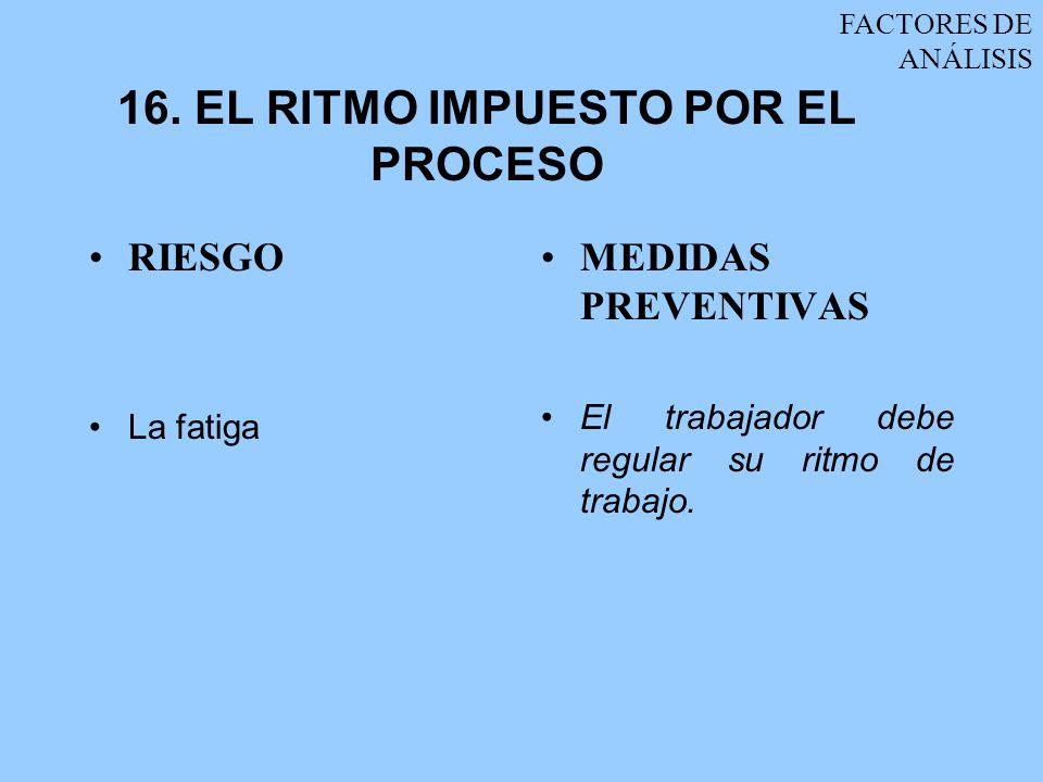 16. EL RITMO IMPUESTO POR EL PROCESO