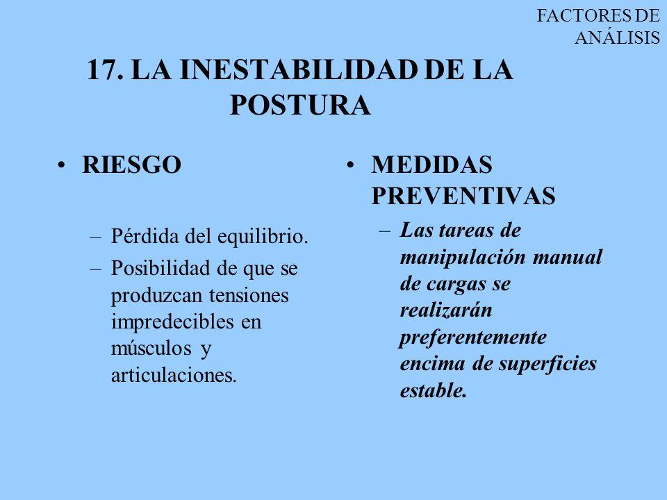 17. LA INESTABILIDAD DE LA POSTURA