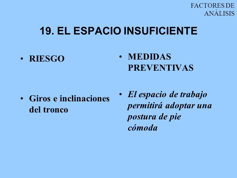 19. EL ESPACIO INSUFICIENTE