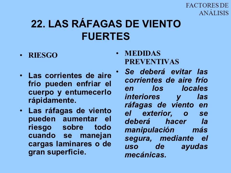 22. LAS RÁFAGAS DE VIENTO FUERTES
