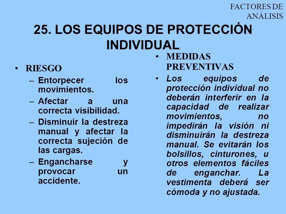 25. LOS EQUIPOS DE PROTECCIÓN INDIVIDUAL