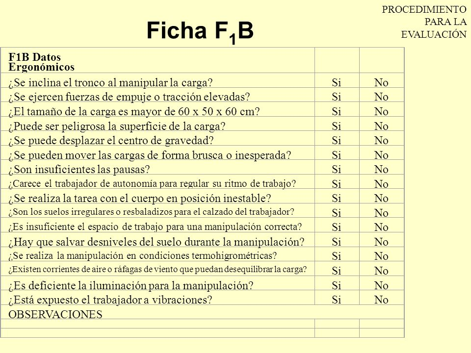 Ficha F1B F1B Datos Ergonómicos