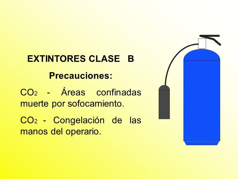 EXTINTORES CLASE B Precauciones: CO2 - Áreas confinadas muerte por sofocamiento.