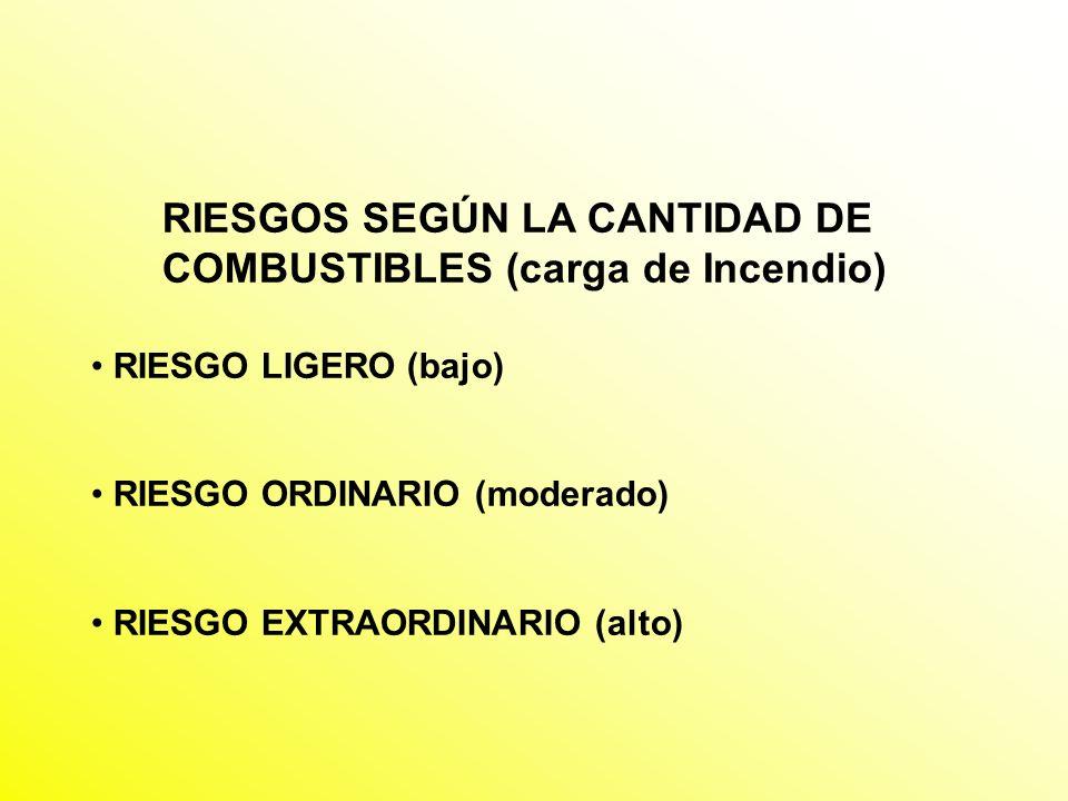 RIESGOS SEGÚN LA CANTIDAD DE COMBUSTIBLES (carga de Incendio)