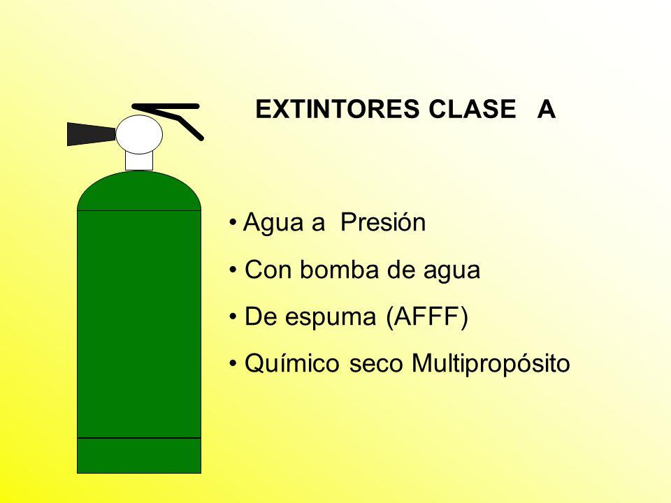 EXTINTORES CLASE A Agua a Presión Con bomba de agua De espuma (AFFF) Químico seco Multipropósito