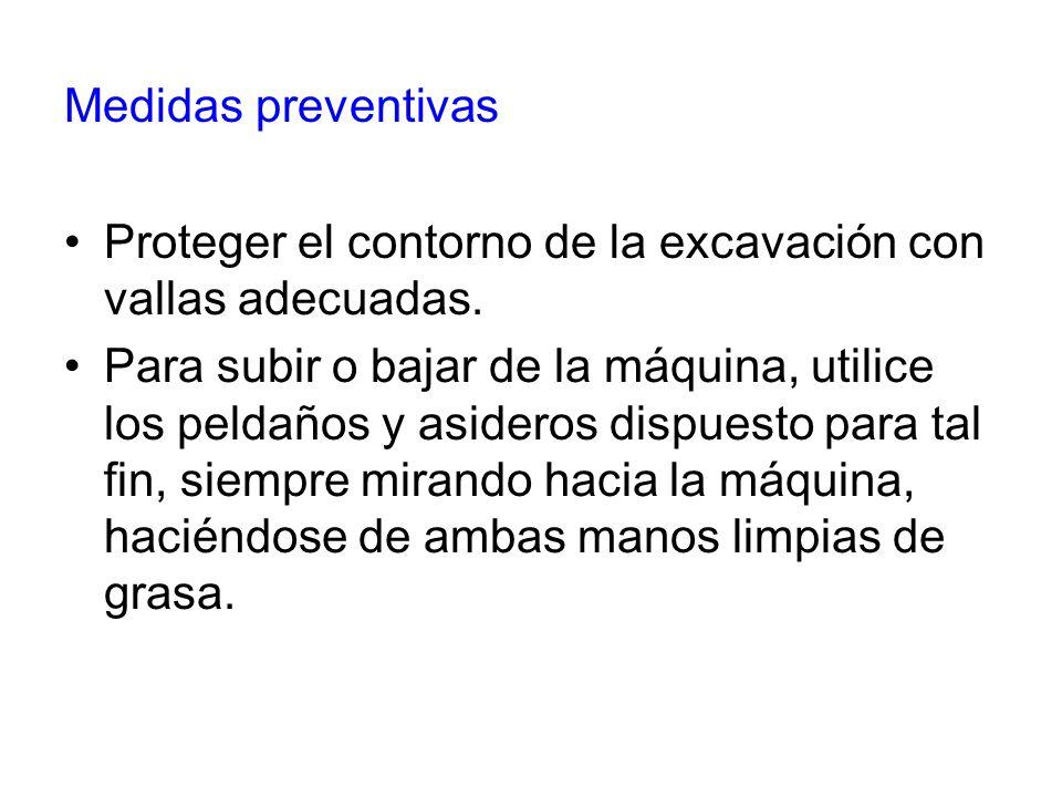Medidas preventivas Proteger el contorno de la excavación con vallas adecuadas.