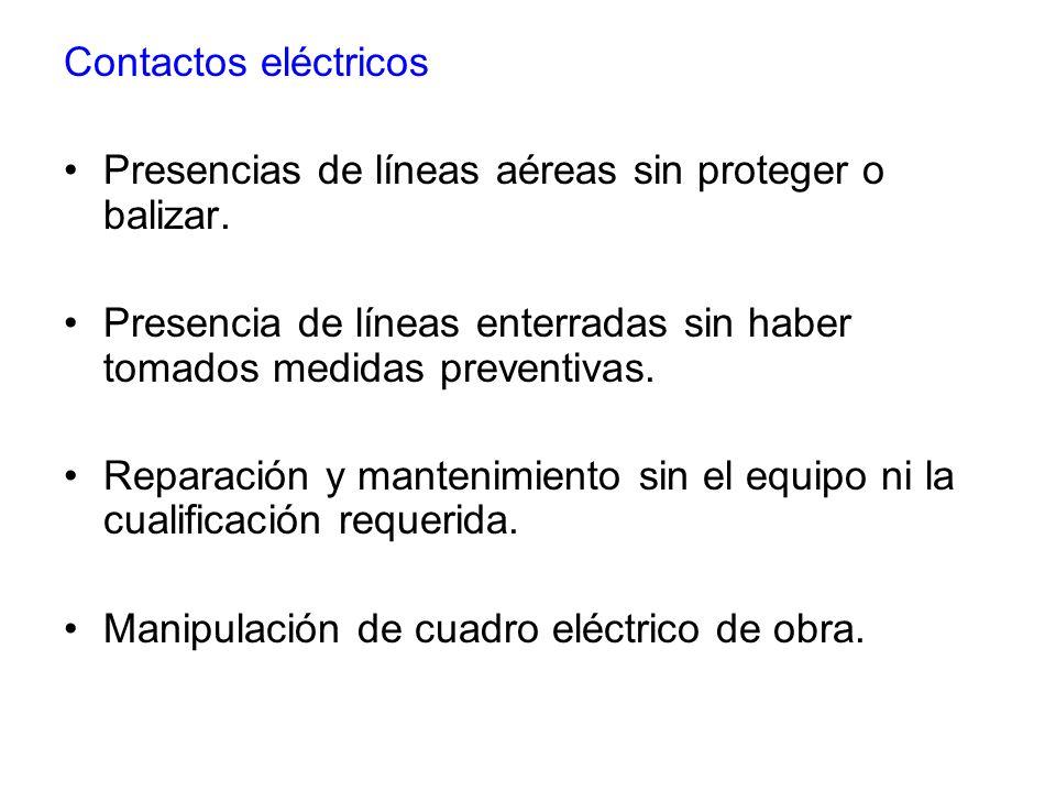 Contactos eléctricos Presencias de líneas aéreas sin proteger o balizar. Presencia de líneas enterradas sin haber tomados medidas preventivas.
