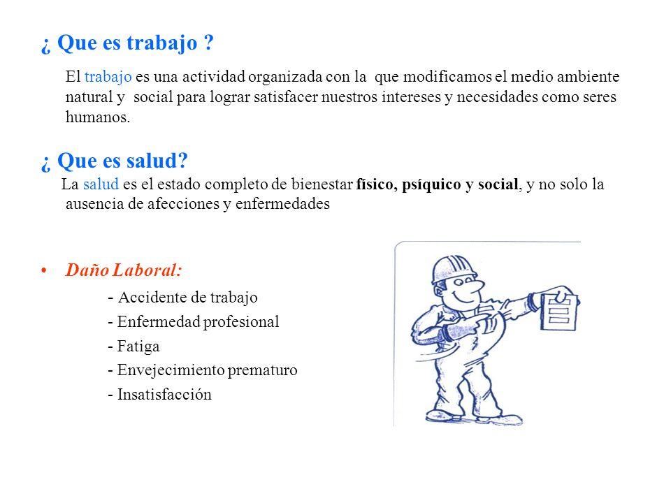 ¿ Que es trabajo ¿ Que es salud Daño Laboral: