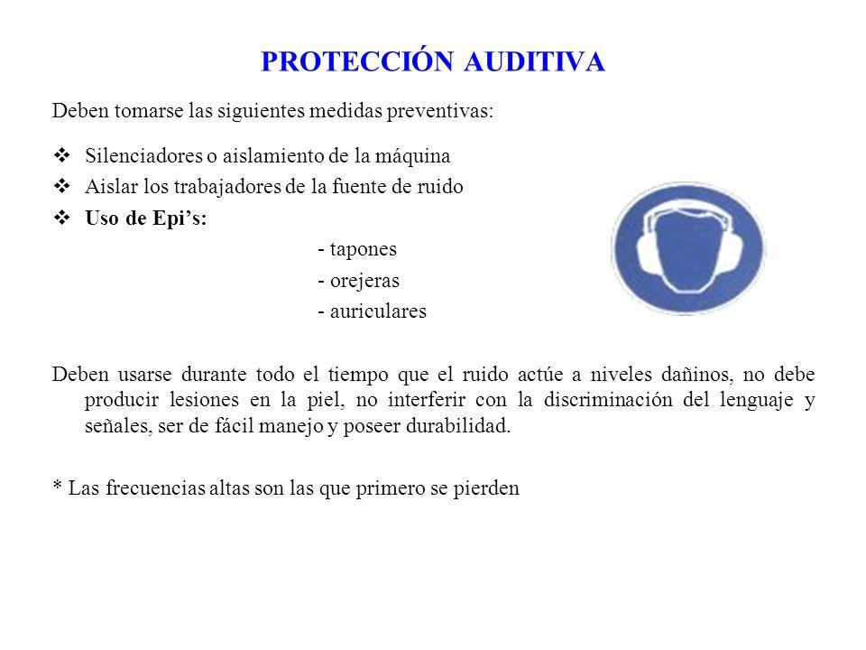 PROTECCIÓN AUDITIVA Deben tomarse las siguientes medidas preventivas: