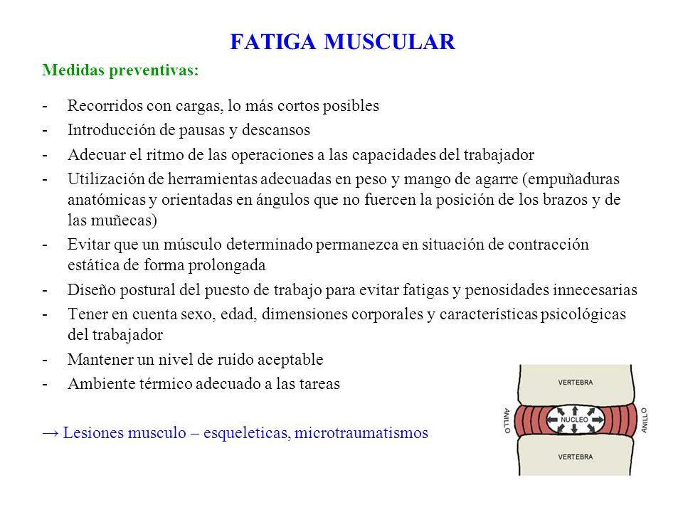 FATIGA MUSCULAR Medidas preventivas: