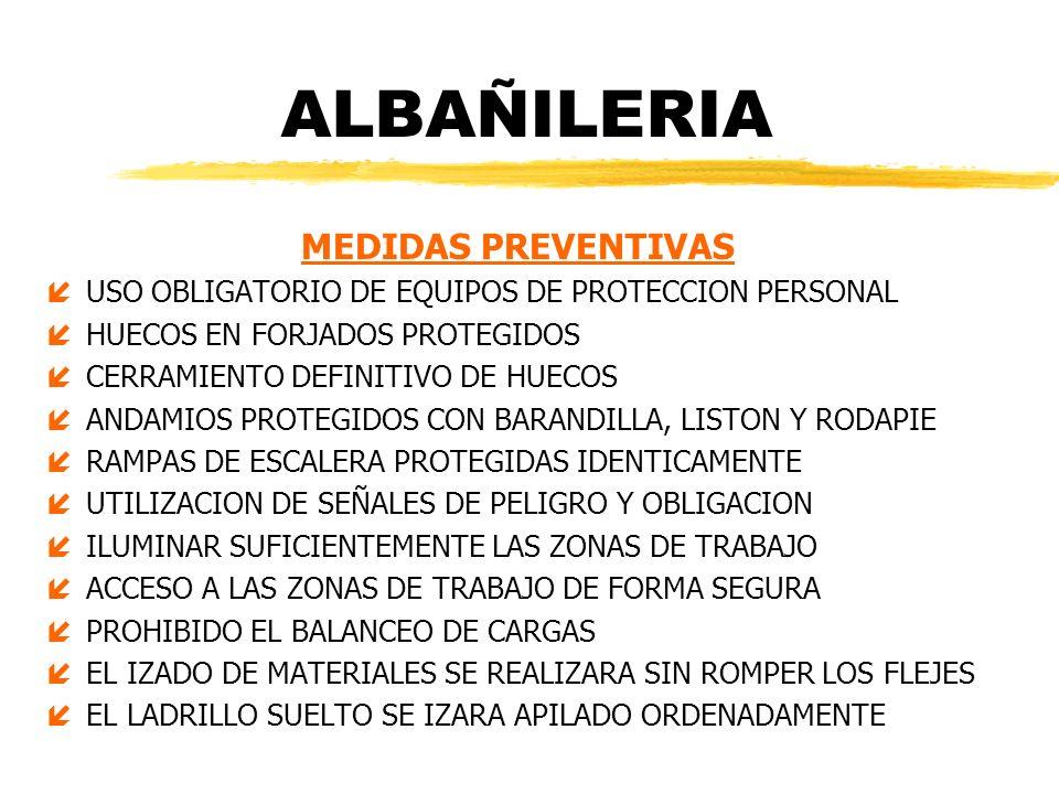 ALBAÑILERIA MEDIDAS PREVENTIVAS
