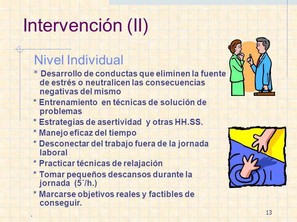 Intervención (II) Nivel Individual