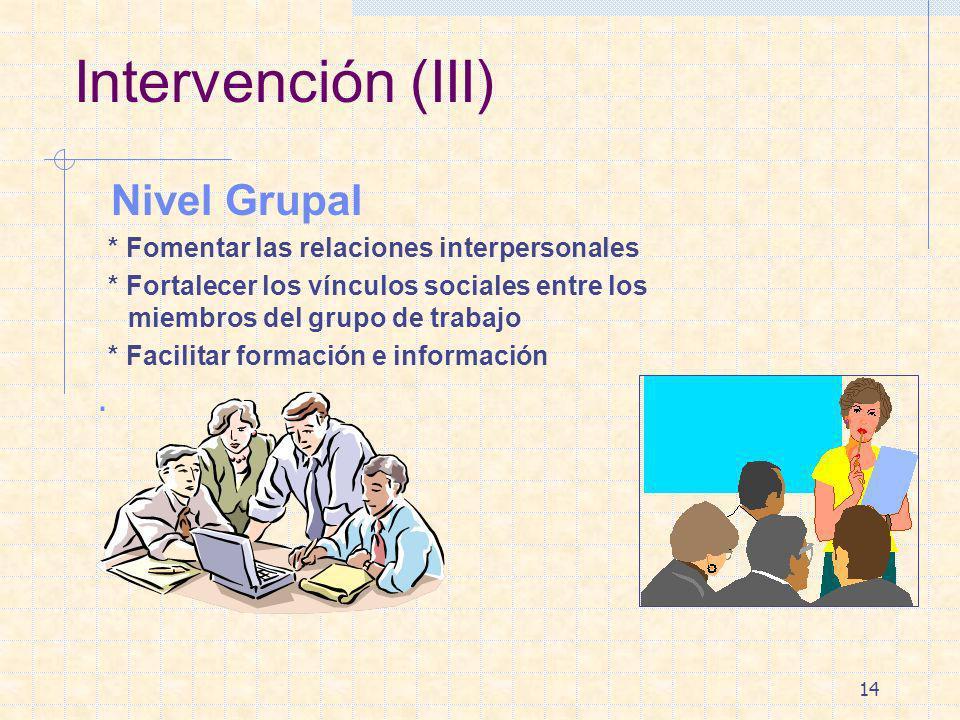Intervención (III) Nivel Grupal .