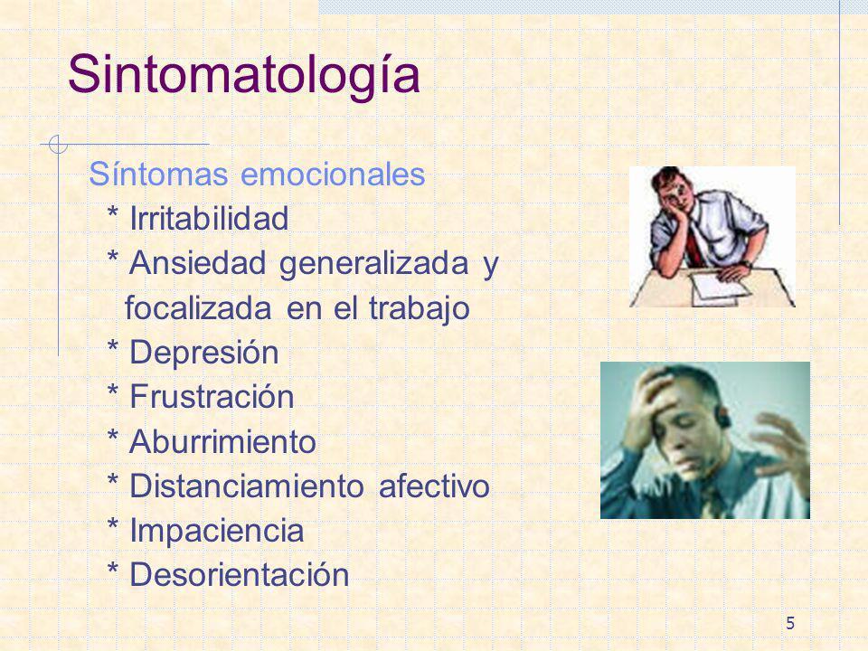 Sintomatología Síntomas emocionales * Irritabilidad