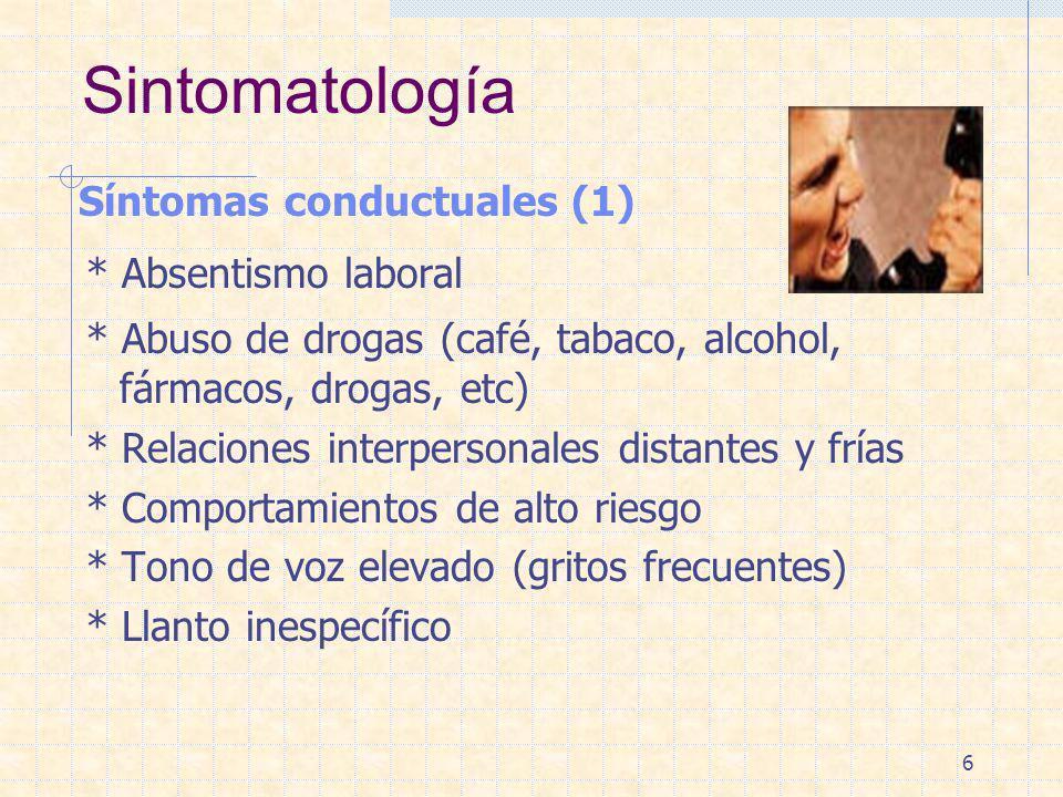 Sintomatología Síntomas conductuales (1) * Absentismo laboral