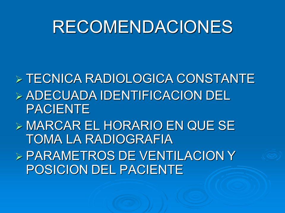 RECOMENDACIONES TECNICA RADIOLOGICA CONSTANTE