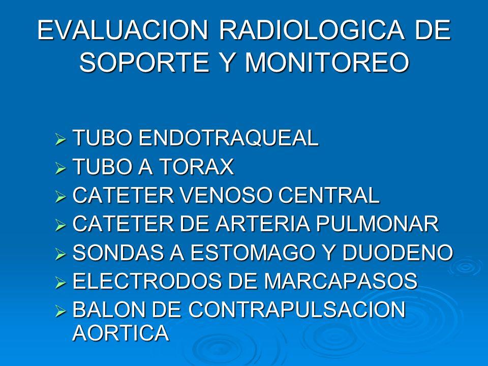 EVALUACION RADIOLOGICA DE SOPORTE Y MONITOREO