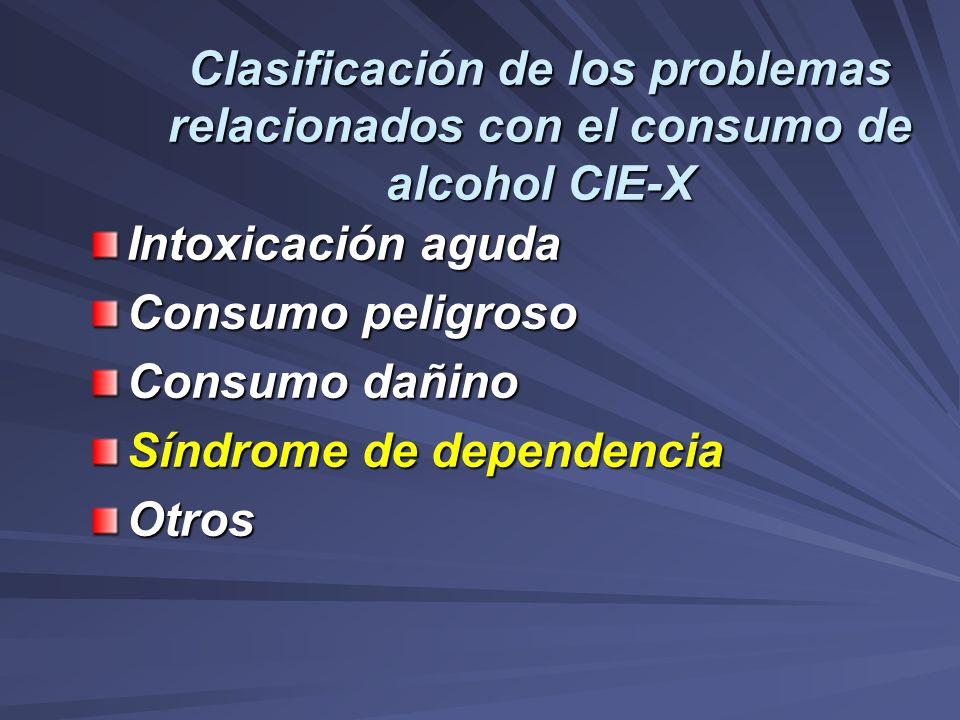 Clasificación de los problemas relacionados con el consumo de alcohol CIE-X