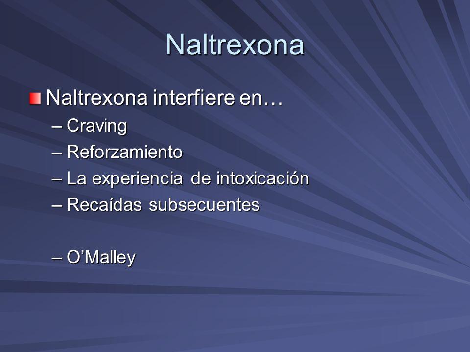 Naltrexona Naltrexona interfiere en… Craving Reforzamiento