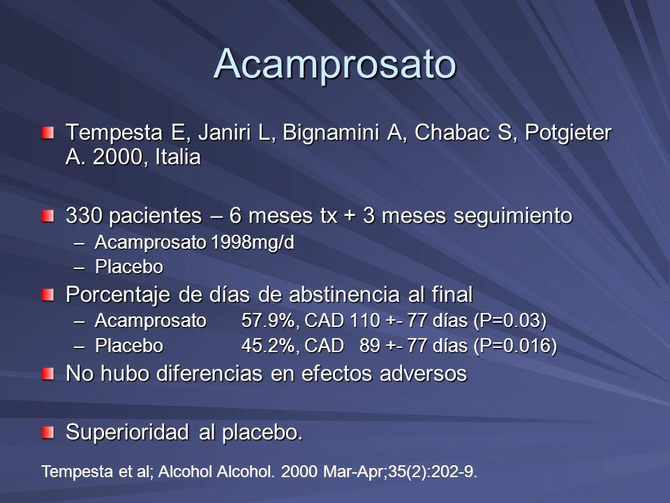 Acamprosato Tempesta E, Janiri L, Bignamini A, Chabac S, Potgieter A. 2000, Italia. 330 pacientes – 6 meses tx + 3 meses seguimiento.