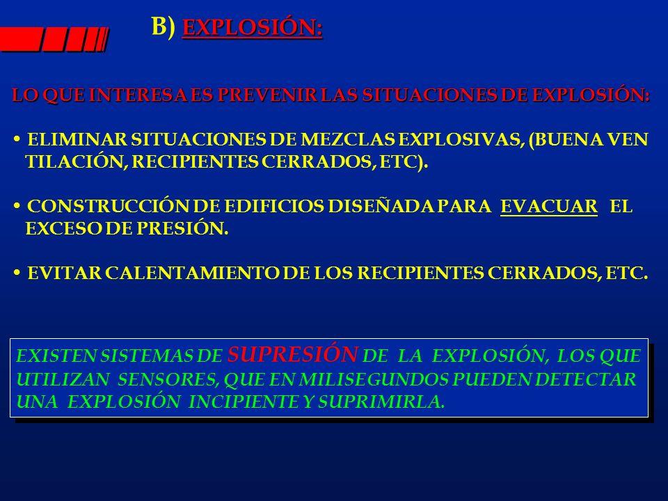 B) EXPLOSIÓN: LO QUE INTERESA ES PREVENIR LAS SITUACIONES DE EXPLOSIÓN: ELIMINAR SITUACIONES DE MEZCLAS EXPLOSIVAS, (BUENA VEN.