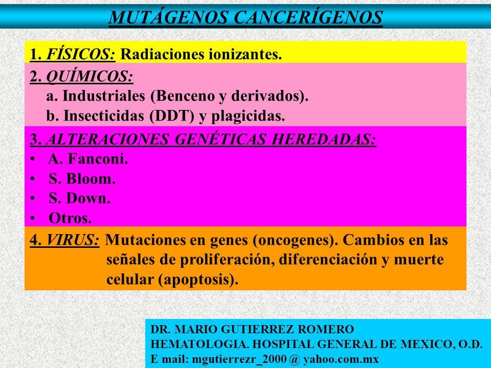 MUTÁGENOS CANCERÍGENOS