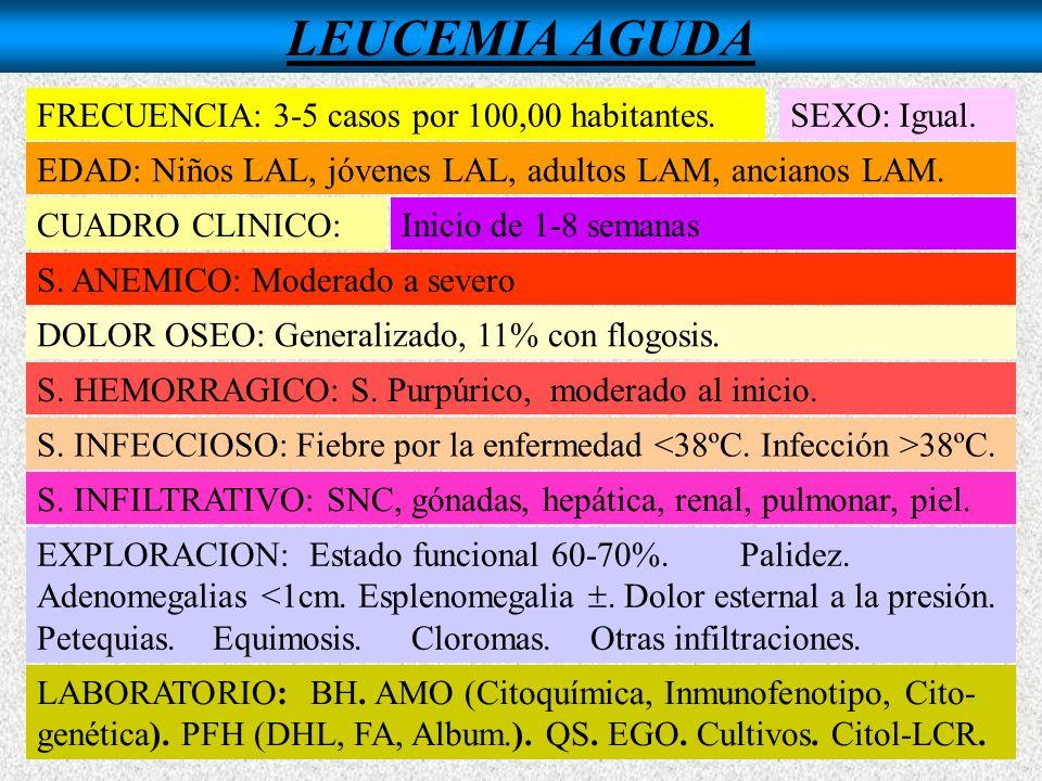 LEUCEMIA AGUDA FRECUENCIA: 3-5 casos por 100,00 habitantes.