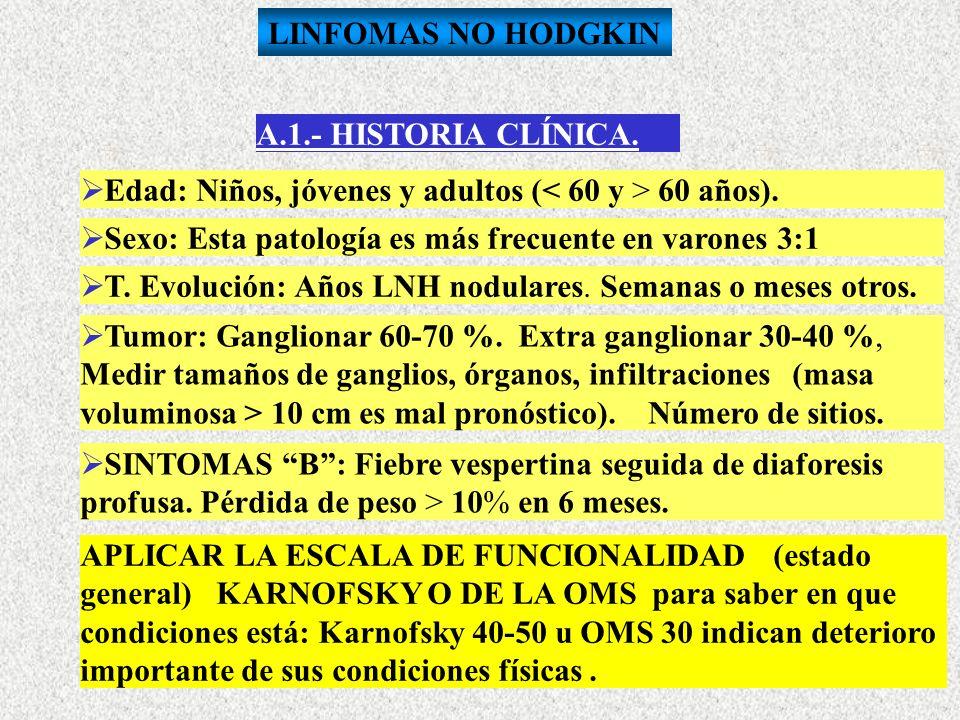 LINFOMAS NO HODGKINA.1.- HISTORIA CLÍNICA. Edad: Niños, jóvenes y adultos (< 60 y > 60 años). Sexo: Esta patología es más frecuente en varones 3:1.