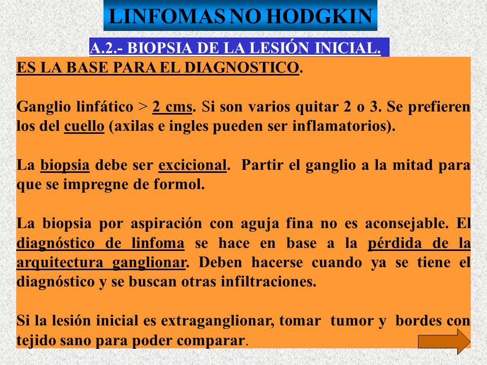 LINFOMAS NO HODGKIN A.2.- BIOPSIA DE LA LESIÓN INICIAL.