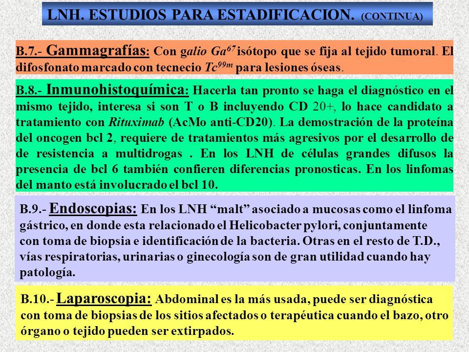 LNH. ESTUDIOS PARA ESTADIFICACION. (CONTINUA)