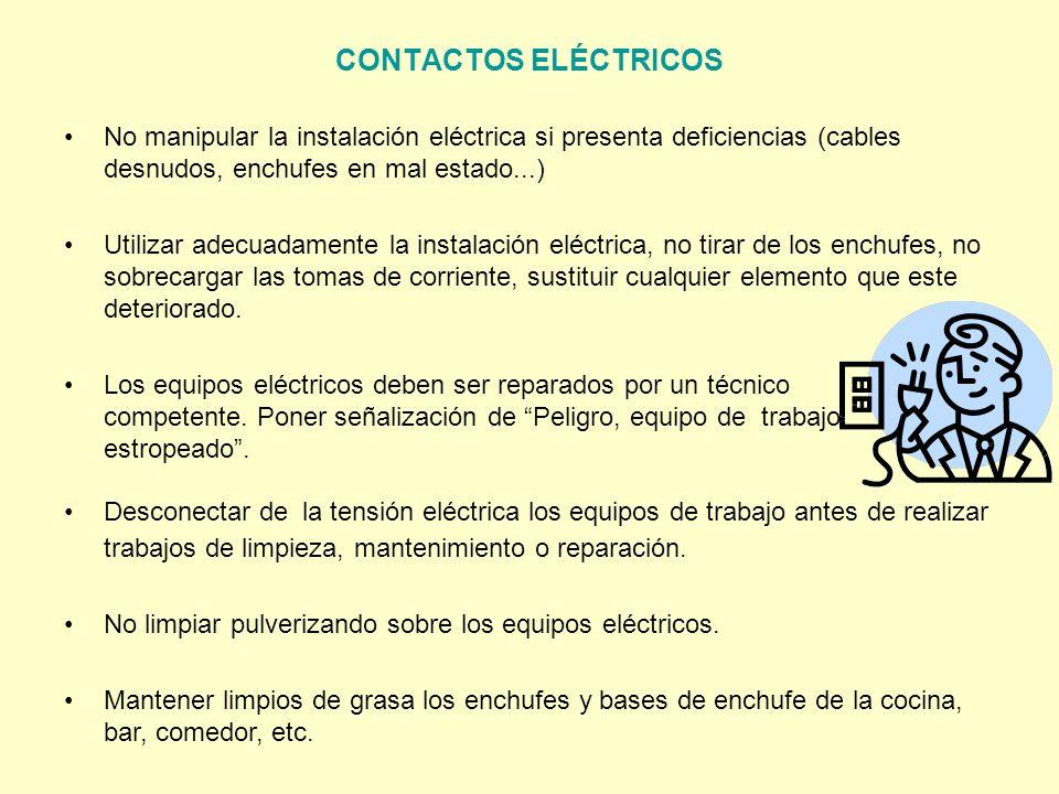 CONTACTOS ELÉCTRICOS No manipular la instalación eléctrica si presenta deficiencias (cables desnudos, enchufes en mal estado...)