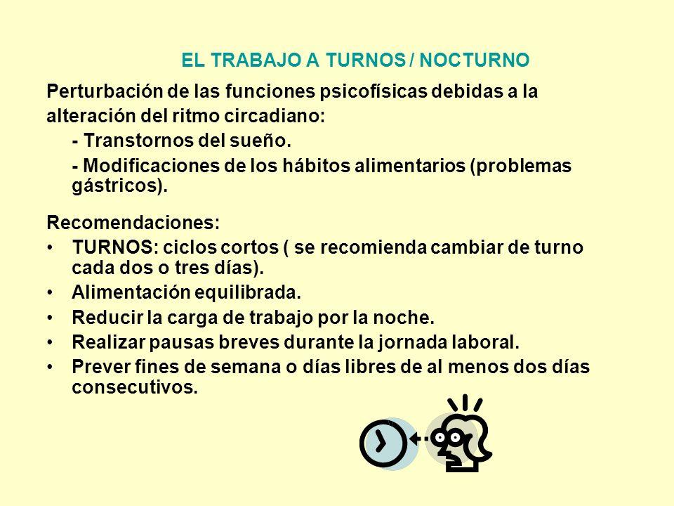 EL TRABAJO A TURNOS / NOCTURNO
