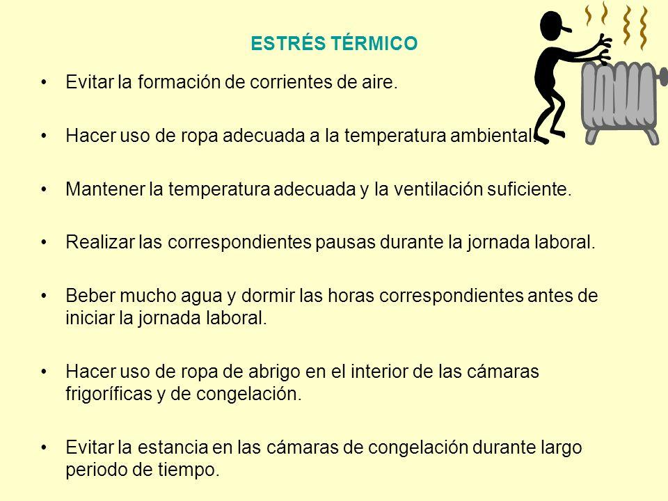 ESTRÉS TÉRMICO Evitar la formación de corrientes de aire. Hacer uso de ropa adecuada a la temperatura ambiental.
