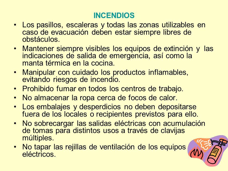 INCENDIOS Los pasillos, escaleras y todas las zonas utilizables en caso de evacuación deben estar siempre libres de obstáculos.