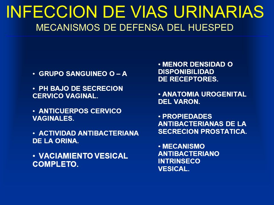 INFECCION DE VIAS URINARIAS MECANISMOS DE DEFENSA DEL HUESPED