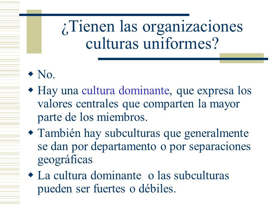 ¿Tienen las organizaciones culturas uniformes