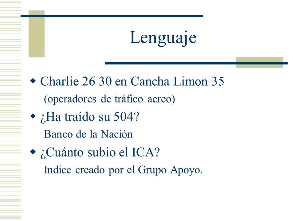 Lenguaje Charlie 26 30 en Cancha Limon 35 ¿Ha traído su 504