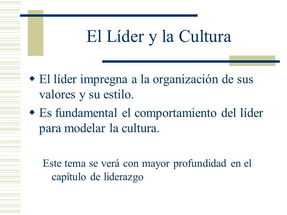 El Líder y la Cultura El líder impregna a la organización de sus valores y su estilo.