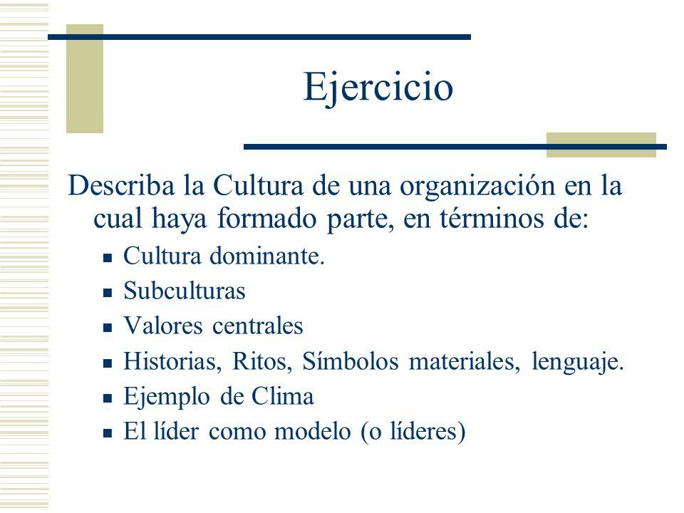 Ejercicio Describa la Cultura de una organización en la cual haya formado parte, en términos de: Cultura dominante.
