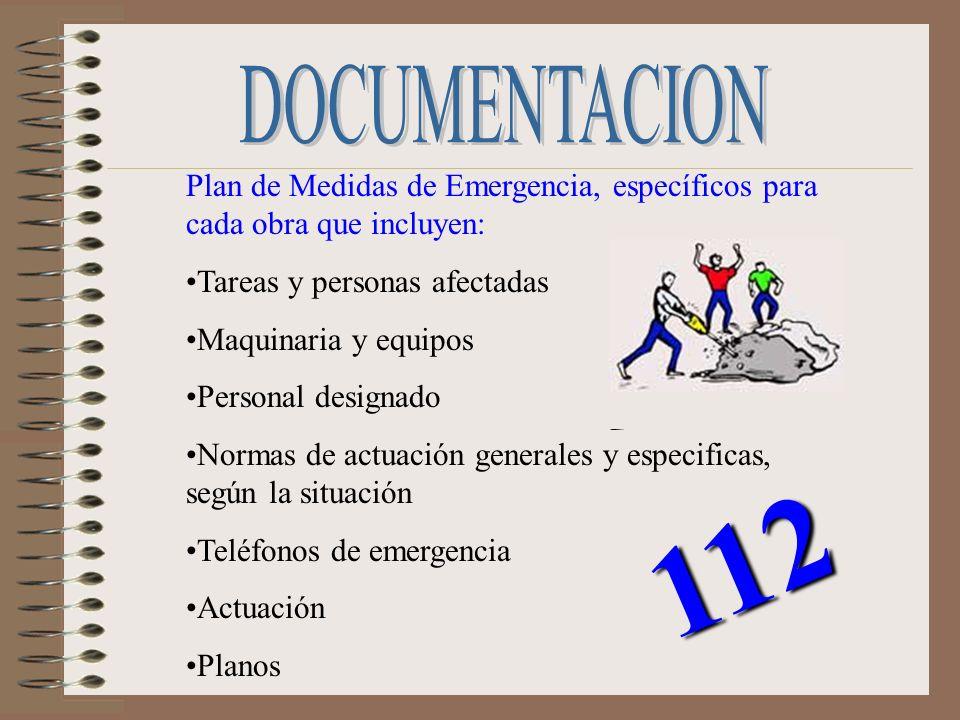 DOCUMENTACIONPlan de Medidas de Emergencia, específicos para cada obra que incluyen: Tareas y personas afectadas.
